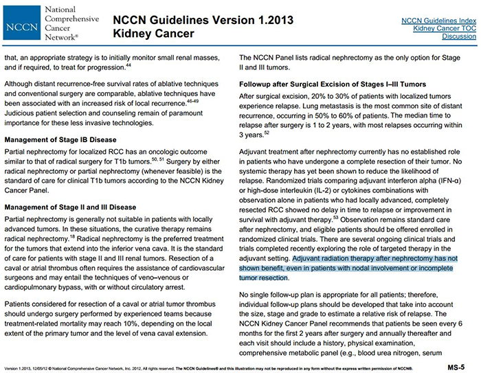 2013 NCCN guidelines discussion of radiotherapy.png