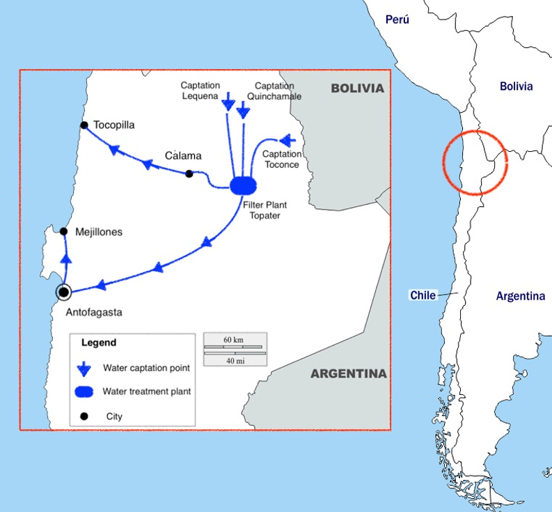 Antofagasta region drinking water network