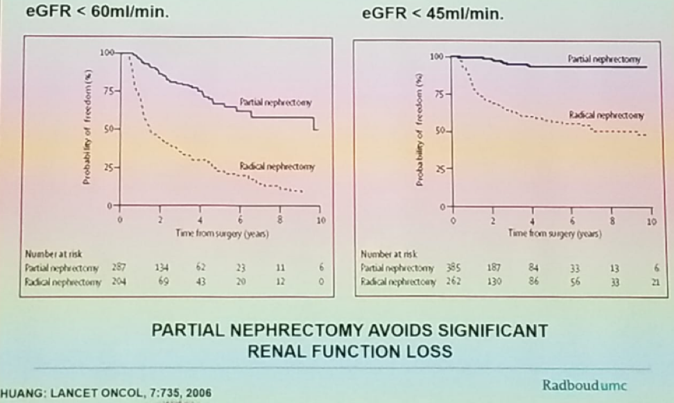 Comparison of renal function estimated glomerular filtration rate between partial and radical nephrectomy