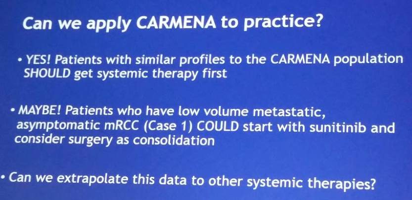 UroToday ASCO2018 CARMENA apply to practice