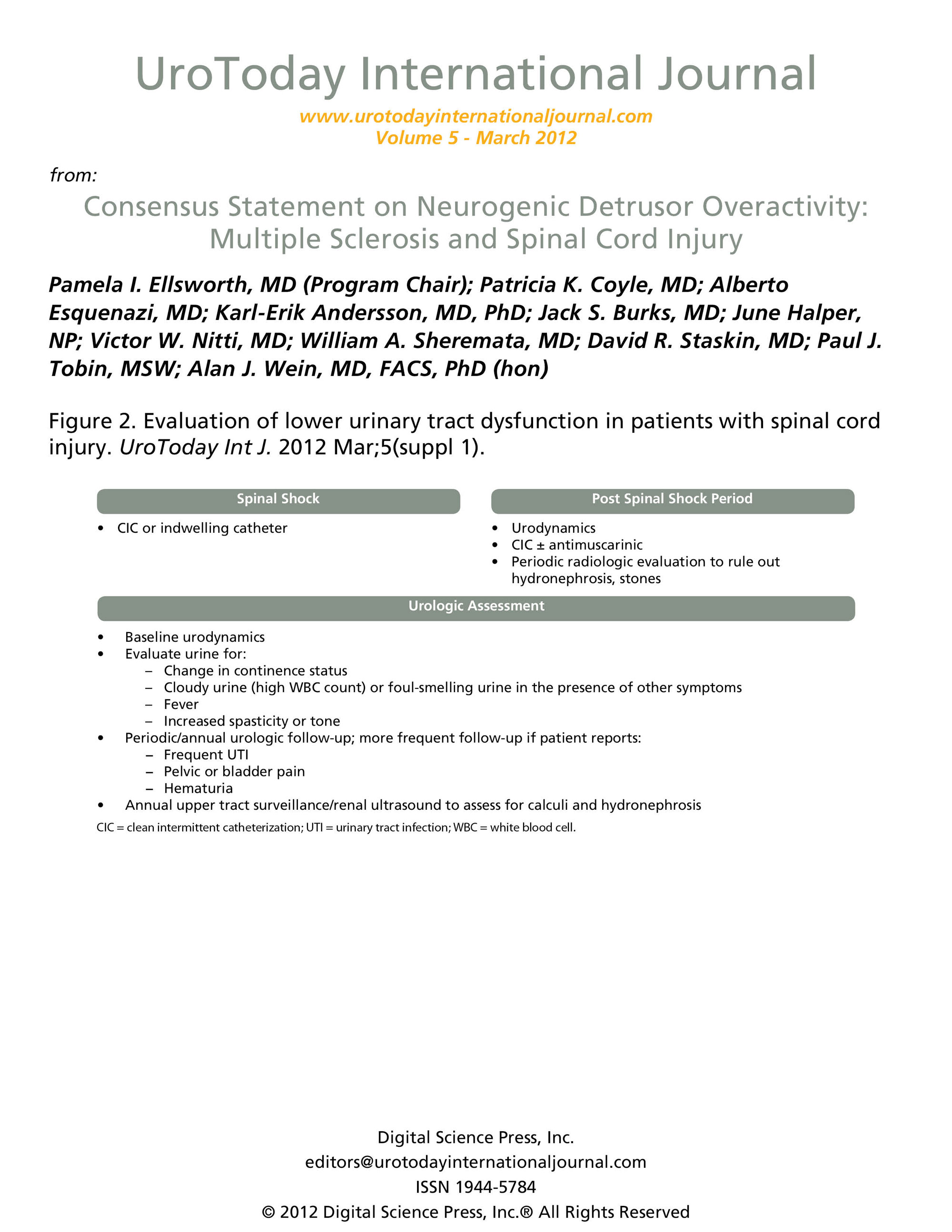 Cme Chairman Director Chair Dc 355 In The Multidisciplinary Care Of Patients Urologist Should Assume Management Lower Urinary Tract Dysfunction Essential Components