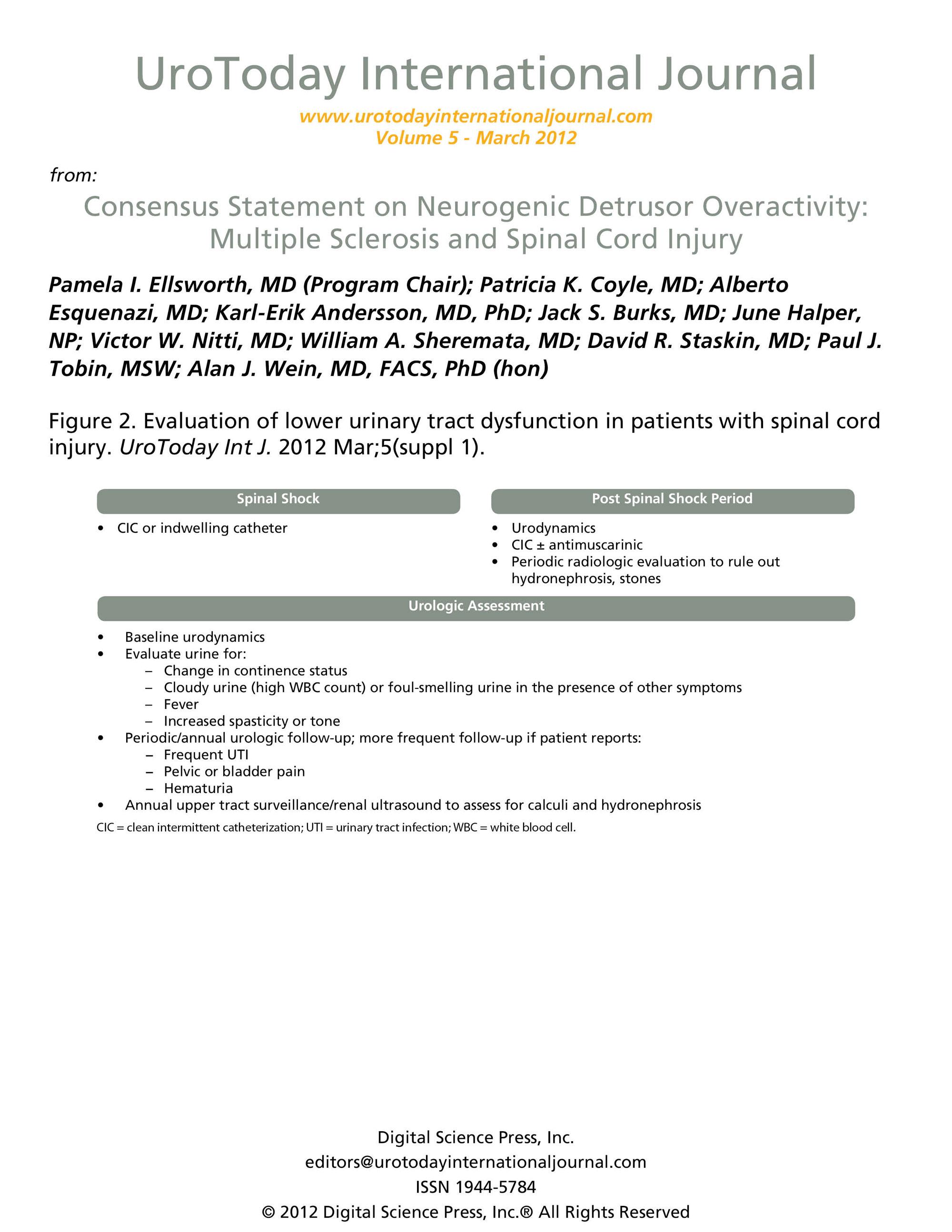 Consensus Statement on Neurogenic Detrusor Overactivity