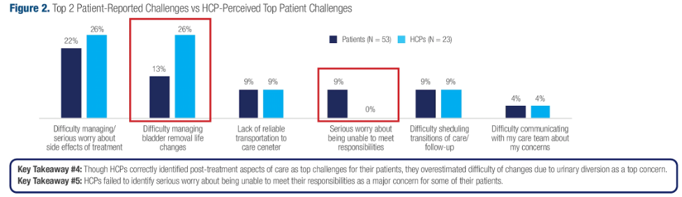 The top 2 patients reported challenges compared to the top patient challenges perceived by hcp